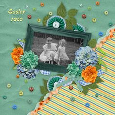 Colorful layout featuring sisters celebrating Easter!   Digital Scrapbooking Kit - Party On The Patio by PattyB Scraps