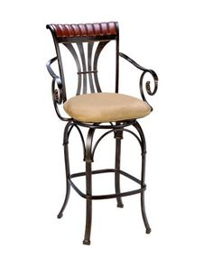 """Hillsdale Fairfield 30-Inch Bar Stool with Return, Black and Gold Finish with Cherry Wood Touches and Saddle Faux-Suede Fabric by Hillsdale Furniture. $245.05. Sturdy tubular steel construction. 30"""" seat height. Swivel seat. black/gold/ cherry wood finish. Faux suede upholstery. The Fairfield stool is strikingly handsome.  The warm black gold finish is enhanced by the cherry wood top and faux suede fabric seat.  Intricately detailed arms and sturdy yet stylish legs add flair to ..."""