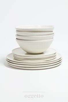 Thrown porcelain tableware by Linda Bloomfield