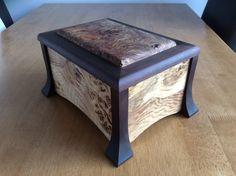 Ron. Oak trinket box with burr elm lid