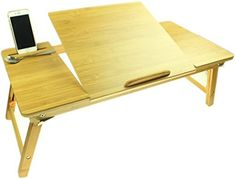 Ucharge Portable Adjustable Bamboo Laptop Desk Table Breakfast Serving Bed Tray with Tilting Lockable Legs Top Drawer