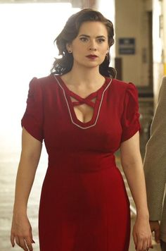 Haley Atwell in a red dress as Agent Carter