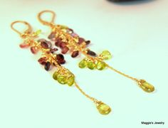 Umba Sapphire Earrings Green Garnet Earrings  by maggiesjewelry,