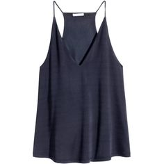 H&M V-neck top ($20) ❤ liked on Polyvore featuring tops, tank tops, tanks, dark blue, racerback tops, h&m tops, vneck tops, racer back tops and v-neck tops