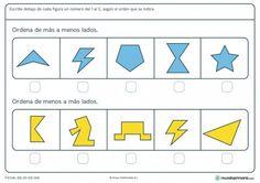 Ficha de ordenar figuras geométricas para primaria