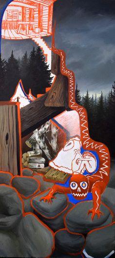 Red devil by Klara Sedlo #oilpainting #Painting #devil #mountain #art #modernsymbolism #fairytale #dark #mystical