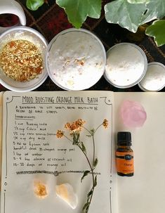"""teaspellsandsecrets: """" Mood Boosting Orange Milk Bath 🍊 My mom is visiting me soon, and she'll be here on her birthday, so I thought I'd make her something that all mothers need! Something relaxing,. Spiritual Bath, Spiritual Cleansing, Healing, Homemade Beauty, Diy Beauty, Herbal Remedies, Natural Remedies, Savon Soap, Soaps"""