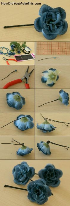 DIY Flower bobby pins.. Would be great for my engagement pictures