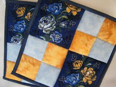 Thank you for sponsoring on 8/12, Theresa!! --- Blue Floral Quilted Potholders  Set of 2 by KraftyGrannysHome, $15.50
