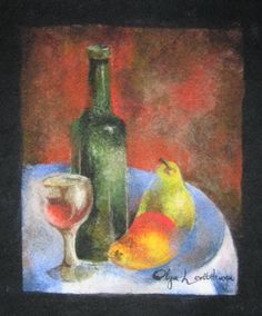 Felted wool painting Still Life with Pears, 36x42 cm - by Olga Levitskaya.