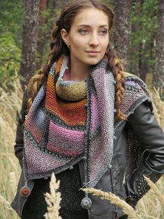 """Knit shawl """"Nineveh"""" (knitted shawl, handmade wrap, knitting wool shawl, knit patchwork, modular knit, шаль спицами, шаль из шерсти, модульное вязание, вязаный пэчворк)"""