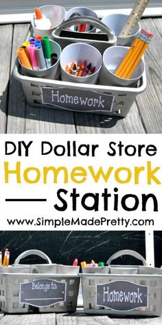 Dollar Store Portable Homework Station DIY - Simple Made Pretty