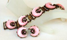 Pink Rhinestone Bracelet Earring Set by EmbellishgirlVintage