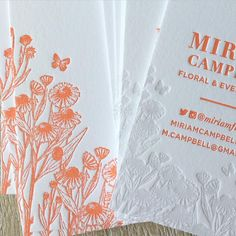 Peachy orange and tinted flowers from a letterpress notecard & business card stationery set for a florist.