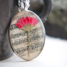 resin jewelry pressed flower necklace pink daisy by StudioBotanica, $50.00