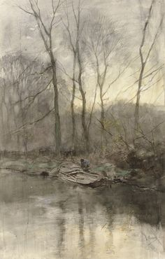 Anton Mauve (1838 — 1888, Dutch) Bosrand aan het water. 1848 -1888 watercolor with white on paper.  60 x 38.2 cm. (23.62 x 15.04 in)
