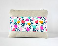 Woman's linen beauty padded travel bag pink, yellow, aqua flower tulip floral print panel cosmetics make up pouch in natural linen. by CuriousMissClay on Etsy
