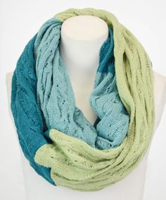 Teal & Chartreuse Color Block Infinity Scarf