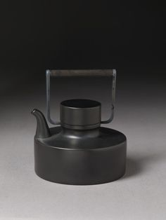 """Noir"" Black Matte Porcelain /Wooden & Silver-Plated Handle Teapot, by Tapio Wirkkala for Rosenthal (1963)"