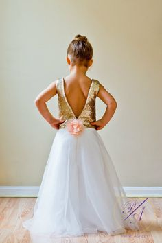 Long Gold Sequin Flower Girl Dress with by HouseOfPaigeAshley