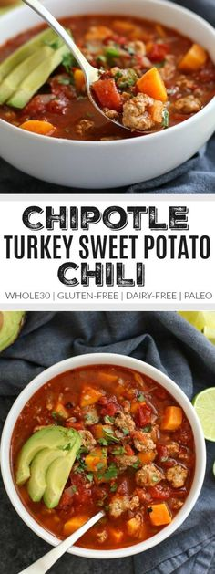 Warm-up with this chili. Sweet potatoes stand in for beans in this hearty paleo-friendly chipotle turkey and sweet potato chili.