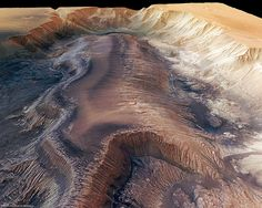 Hebes Chasma, a trough in the Grand Canyon of Mars - European Space Agency