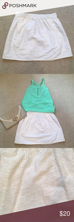 Linen white skirt Looking for the perfect white linen skirt for this summer? Look no further! This cute skirt has a scallop pattern and pairs with pretty much everything. J. Crew Skirts Mini