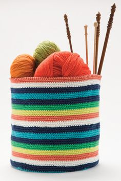 Hone your crochet skills with these striped baskets, which are worked in the round from the lower edge up. Issue Magazine, Spring Summer 2015, Bean Bag Chair, Knitted Hats, Projects To Try, Knitting, Crochet, Pattern, Fun