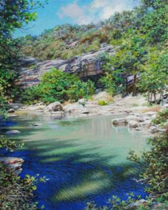 Cypress Shadows by Larry Dyke - Dyke is one of our nation's foremost landscape painters, and he loves to paint the Texas Hill Country. The artist presents this panorama of the region as a magnificent landscape in all its glory. With a heavenly sky, a lush field of bluebonnets, a meandering stream, and a rocky terrain, Dyke has created a marvelous, eternal vista. ... click image to read more and see all of Larry's images.