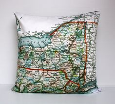 vintage map cushion NEW YORK STATE vintage map pillow, organic cotton,  cushion cover,  16 inch, 41cm. $55.00, via Etsy.
