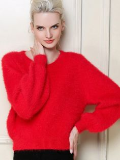 Holiday Vibrant [ad] The red puff sleeve loose pullover will keep you festive and cozy during the holidays! Cool Style, My Style, Comfy Casual, Dressy Outfits, Up Girl, Feminine Style, Dress To Impress, Nice Dresses, Long Sleeve Shirts