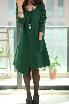 """Asymmetric Spring Coat long sleeved dress. $69.00, via Etsy."""