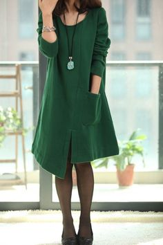 """Asymmetric Spring Coat long sleeved dress. $69.00, via Etsy."""