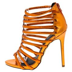 Designer Clothes, Shoes & Bags for Women Open Toe Flats, Strappy Flats, Caged Sandals, Wedge Sandals, Wedge Shoes, Flat Shoes, Women's Shoes, Orange Sandals, Orange Heels