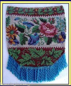Antique Victorian Purse Bag Micro Bead w Fine Beaded Flowers 2468 | eBay