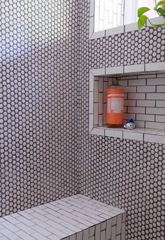 Combine Penny Rounds With Simple Subway Tiles For An Added Design Element In Your Shower First Time Renovators Create A Dream Brooklyn Townhome