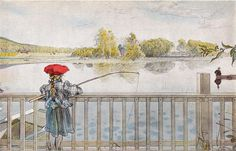 Le Petit Palais will actually opened this time! Carl Larsson, Lisbeth Fishing Watercolour from the album Our House, © Carl Larsson, Artist Birthday, Fishing Girls, Arts And Crafts Movement, Wassily Kandinsky, Museum Of Fine Arts, Large Painting, Art History, Vintage Art