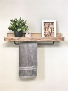 Rustic Wooden Rack Ledge Shelf Ledge Shelves Wooden Rack Rustic Home Decor Towel Rack Shelf Bathroom Rack Farmhouse housewarming gift Hang Towels In Bathroom, Towel Rack Bathroom, Bathroom Storage, Small Bathroom, Bathroom Vanities, Bathroom Ideas, Towel Shelf, Bathroom Cabinets, Kitchen Towel Rack