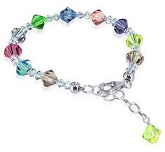 SCBR116 Sterling Silver Multicolor Crystal adjustable Bracelet 7 to 8 inch Made with Swarovski Elements:Amazon:Jewelry