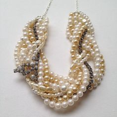 One of a kind vintage pearl & rhinestone necklace by claireflair
