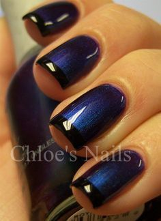 Dark French. This is such a fabulous take on the French manicure. The nails are painted a shimmering, midnight blue and then tipped with black enamel. Notice how the lustrous glaze adds to the overall feel of the design. The source: Chloe's Nails. For more beauty, makeup, and nail art tips and ideas go to www.sparkofallure.com