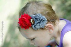 Ohio State University Football Shabby Chic Red & Gray Double Flower Baby Headband - Newborn - Infant - Toddler - Girl - Adult - Photo Prop. $7.95, via Etsy.