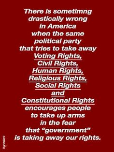 "There is something drastically wrong in American when the same political party that tries to take away Voting Rights, Civil rights, Human rights, Religious Rights, Social Rights and Constitutional Rights encourage people to take up arms in the fear that ""government"" is taking away our rights."