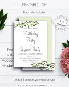 Greenery Birthday Invitation, with elegant and pure greenery leaves watercolor design in unique and modern style by Amistyle Art Studio Watercolor Artwork, Watercolor Design, Birthday Party Invitations, Baby Shower Invitations, Birth Announcements, Printable Invitations, Art Market, Rustic Style, Greenery