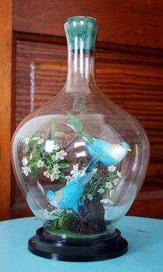Vintage Mid Century Faux Blue Bird Diorama Faux by GadzinasHamper