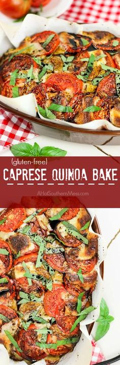 Easy cheesy caprese quinoa casserole with fresh juicy tomatoes, soft melted mozzarella, fluffy quinoa, delicious basil and drizzled with a balsamic reduction. Vegetarian Dinners, Vegetarian Recipes, Cooking Recipes, Great Recipes, Dinner Recipes, Top Recipes, Delicious Recipes, Easy Weeknight Meals, Kitchens