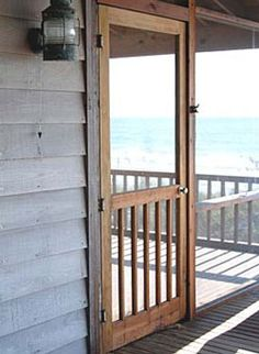 Screen door.... I have wanted a wooden one for years.... maybe this will be the year I actually get one! Farmhouse Patio Doors, Farmhouse Front Porches, Farmhouse Style, Farmhouse Design, Farmhouse Plans, House Front Door, House With Porch, Front Doors, Wood Screen Door