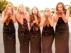 Fun bridal party confetti photo!  *Wearing the Nicole Miller Felicity gown in black