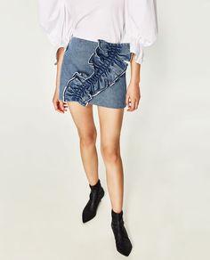 d6dfeb5038 ZARA Denim side front frills mini skirt back zip faste WOMEN NEW ...