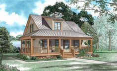 House Plan 62117 | Cabin Country Southern Plan with 1397 Sq. Ft., 3 Bedrooms, 2 Bathrooms
